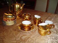 Coffee Set, Royal Worcester Gold Lustre Porcelain