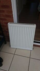 "Double panelled radiator. 505mm wide x 610mm high (20"" x 24"")."