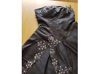 Black wedding/ prom/ evening dress size 10 + petticoat ( used)