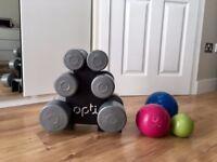 Weights set and medicine balls