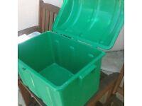 green heavy duty plastic storage chest