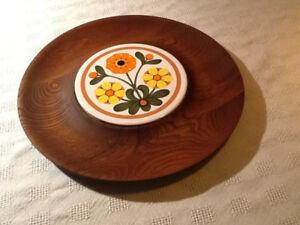 Assiette Baribocraft en teck (teak) avec plaque céramique