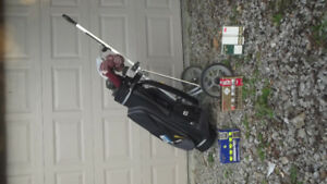 golf club set, bag, cart, and related equipment
