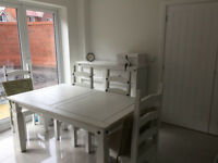 dining table and chairs with 4 chair pads