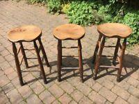 3 original antique elm workshop / bar stools