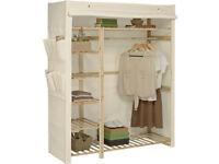 HOME Polycotton and Pine Triple Wardrobe - Cream [Fabric Wardrobe]