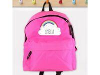 PERSONALISED Girls Bag. Choose Any Name. Pink School Backpack / Rucksack for Kids.