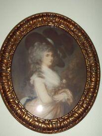3 Beautiful Thomas Gainsborough Coloured Edwardian Mezzotints in Giltwood Frames