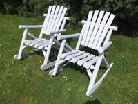 Large Grey Wooden Rustic Garden Rocking Chairs £149
