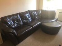 Corner sofa, with foot rest, curved