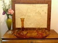 Vintage amber glass dressing table set