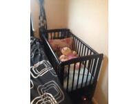 Baby cot black mint condition £55 QUICK SALE