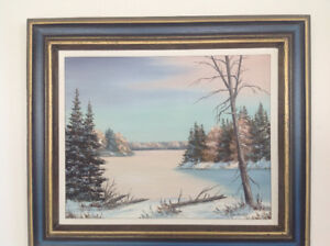 WINTER SCENE PAINTING BY MARY KENDRICK