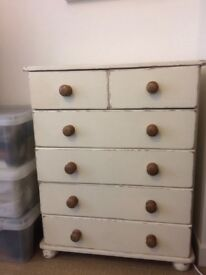 Pine lightly distressed chest of drawers