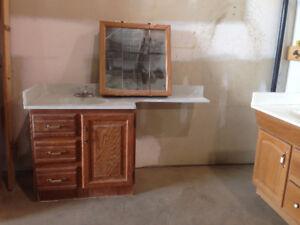 2 Oak Bathroom Vanities with countertops and mirrors