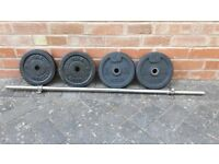 CAST IRON WEIGHTS SET WITH BARBELL