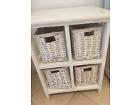 White storage cube with wicker baskets