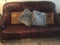 Three seater, two seater and one seater brown leather sofa