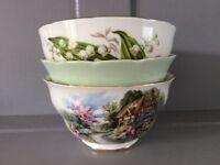 3 Bone China Sugar Bowls
