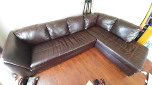 Faux Leather Sectional Sofa $100