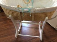 Moses Basket on wooden rocker