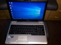 4GB Ram Fast Toshiba satellite HD Laptop Massive 500GB,Window10,Microsoft office,Excellent cond