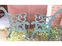 Pair Of Cast Iron Garden Bench Ends With Scroll Design