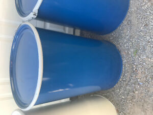 Blue and White steel barrels