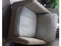 CONSERVATORY FURNITURE SET 2 CHAIRS 1 SOFA 1 TABLE used but in good condition