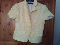 New look yellow/white checked short sleeved shirt/jacket size 8 in good condition