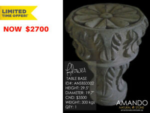 SPECIAL OFFER! Handcrafted natural stone dark brown table base