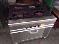 FOUR RING COMMERCIAL GAS COOKER + OVEN CATERING MACHINE RESTAURANT SHOP TAKEAWAY PUB KITCHEN BAR