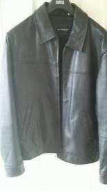 Black leather jacket M&S - size Large
