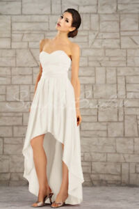 Elegant Satin Ivory Hi-Low Wedding Dress - Size 10/12