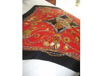 VINTAGE Scarf, BEAUTY , Fleur-de-lis, Crown, Sword Equestrian Style- 100% Silk, Measures 86cm x 86cm