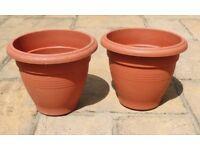 2 X Dialene 35cm Brown Plastic Garden Pots Planters Containers