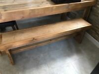 Reclaimed solid chunky wood bench and chairs