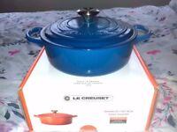 Le Creuset Signature Cast Iron 24cm Round Casserole Chef's Pan - Marseille Blue