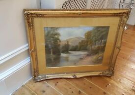 large antique painting in original frame, signed and dated 1916