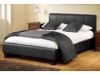 LILY DOUBLE LEATHER BED WITH FREE MATTRESS
