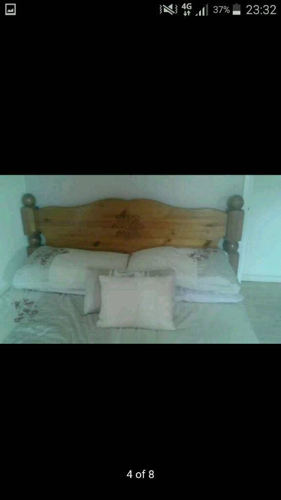 Double bed . Frame solid wood