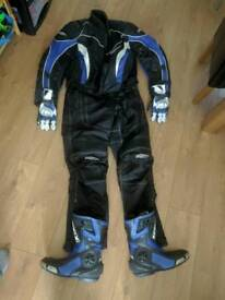 Motorbike two piece suit boots and gloves