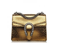 GUCCI Python Mini Dionysus Shoulder Bag Gold