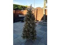 1.8m / 6ft Gold Slimline Christmas tree with lights and loads of decorations