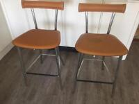 2 bar stools. Real leather