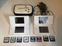 **TWO NINTENDO DS LITEs, Power Supply and 8 Games**