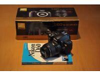 Nikon D60 10.2MP Digital SLR Camera, Lens & Accessories + Guide Book - Low Shutter Count (8489)