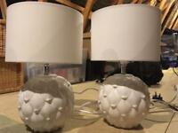 2 M&S white table lamps