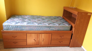 Twin mates/captains storage bed