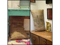 Antique Vintage Original French Grain/Coffee Burlap Hessian Sacks, Cushions